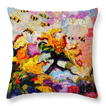 Impressionist Sunflowers And Bees Throw Pillow
