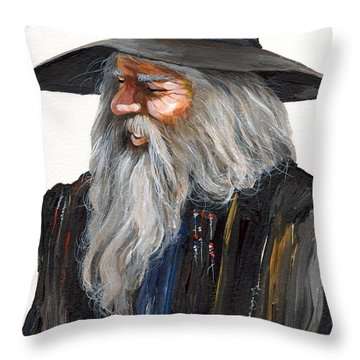 Impressionist Wizard Throw Pillow by J W Baker