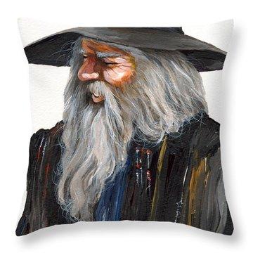 Impressionist Wizard Throw Pillow by J W Baker