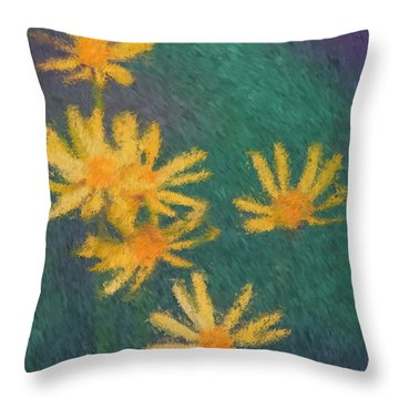 Throw Pillow featuring the painting Impressionist Yellow Wildflowers by Smilin Eyes  Treasures