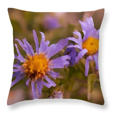 Impressionistic Asters Throw Pillow
