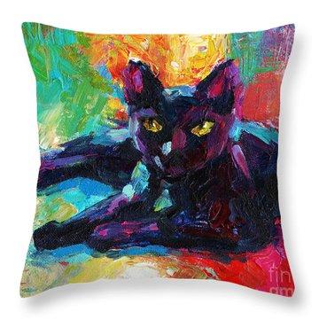 Impressionistic Black Cat Painting 2 Throw Pillow
