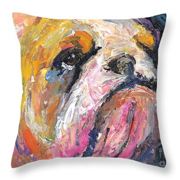 Impressionistic Bulldog Painting Throw Pillow