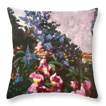 Impressionistic Flowers Throw Pillow