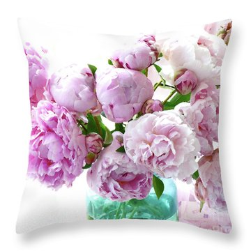 Throw Pillow featuring the photograph Impressionistic Romantic Pink Peonies Watercolor Romantic Floral Decor - Pink Peony Decor by Kathy Fornal