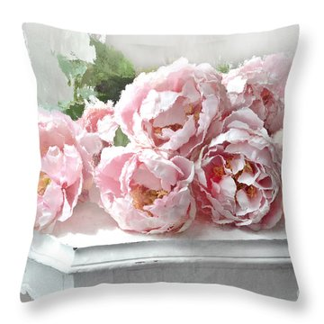 Impressionistic Watercolor Pink Peonies - Pink And White Romantic Shabby Chic Still Life Peonies Art Throw Pillow