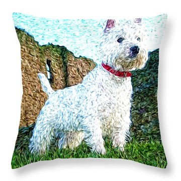 Impressionistic Westie Throw Pillow by Laura Brightwood