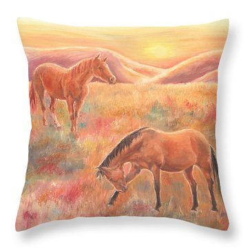 Throw Pillow featuring the painting Impressions At Sunset by Elizabeth Lock