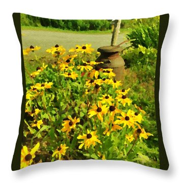 Impressions Of A Country Garden Throw Pillow