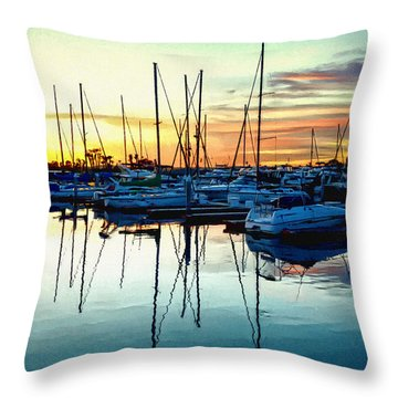Throw Pillow featuring the photograph Impressions Of A San Diego Marina by Glenn McCarthy Art and Photography