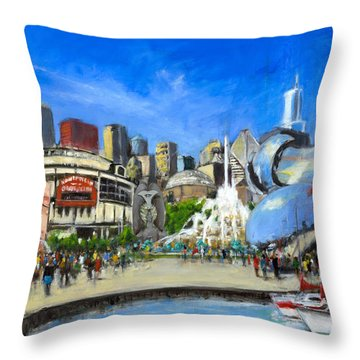 Impressions Of Chicago Throw Pillow by Robert Reeves