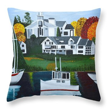 Impressions Of New England Two Throw Pillow by Donna Blossom