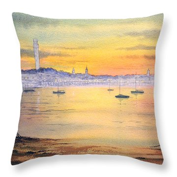 Throw Pillow featuring the painting Impressions Of Provincetown by Bill Holkham