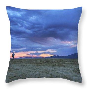 Impromptu Meeting In The Desert Throw Pillow