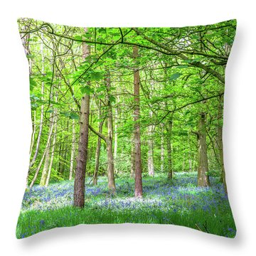 In A Bluebell Wood Throw Pillow