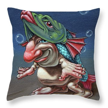In A Fish Suit. Throw Pillow