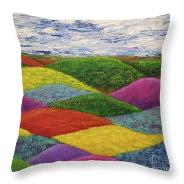 Throw Pillow featuring the painting In A Land Far, Far Away by Jane Chesnut