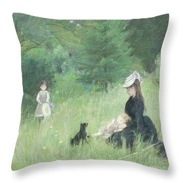 In A Park Throw Pillow by Berthe Morisot