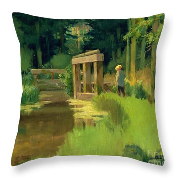 In A Park Throw Pillow by Edouard Manet