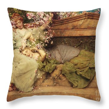 In A Rose Garden Throw Pillow by Sir Lawrence Alma-Tadema