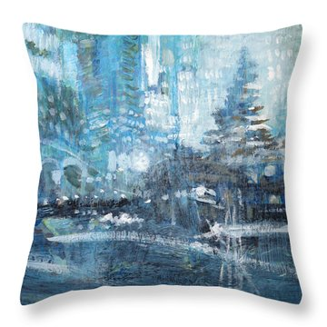 In A Winter Urban Park Throw Pillow by John Fish