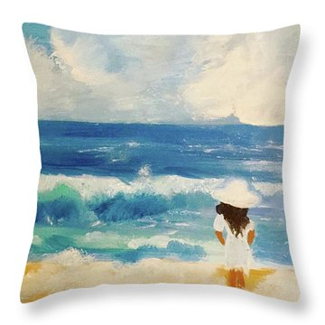In Awe Of The Ocean Throw Pillow by Angela Holmes