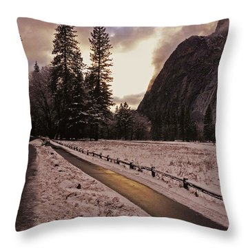 Throw Pillow featuring the photograph In Between Snow Falls by Walter Fahmy
