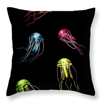 In Colours Of Swirling Jellyfishes  Throw Pillow