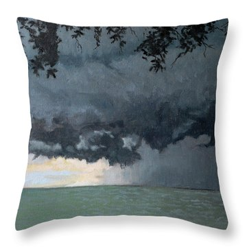 In Coming Storm-epping Forest On The Lake Throw Pillow