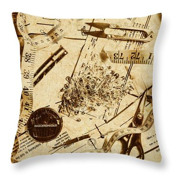 In Fashion Of Vintage Sewing Throw Pillow
