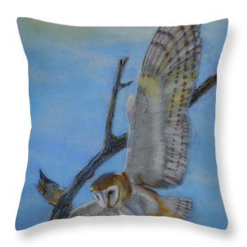 In Flight Barn Owl Throw Pillow