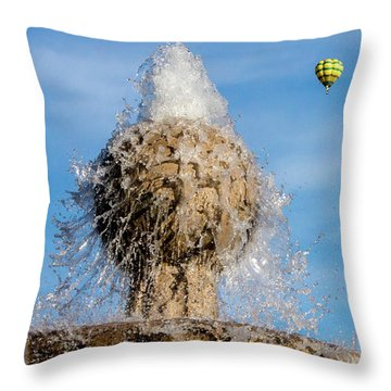 In Flight Over Flags Throw Pillow