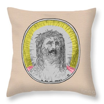 In Him We Trust Colorized Throw Pillow