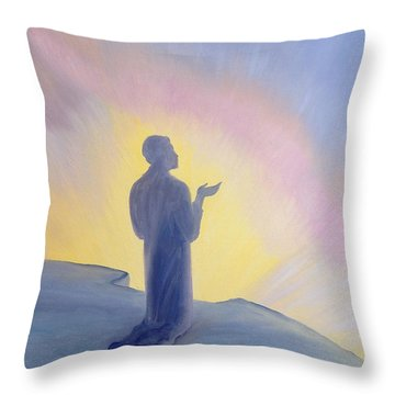 In His Life On Earth Jesus Prayed To His Father With Praise And Thanks Throw Pillow by Elizabeth Wang