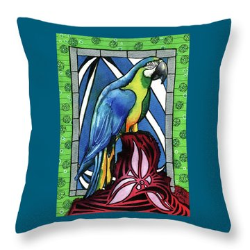 Throw Pillow featuring the painting In Love With A Macaw by Dora Hathazi Mendes
