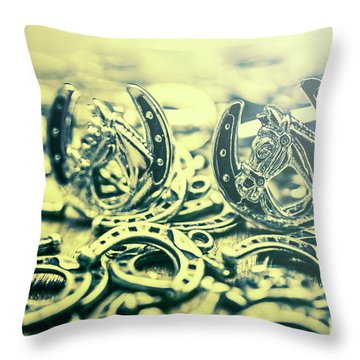 In Luck Of The Horse Race Throw Pillow
