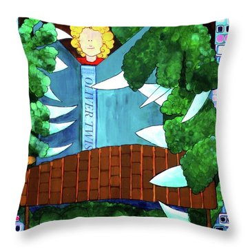 Throw Pillow featuring the painting In My Room by Donna Howard