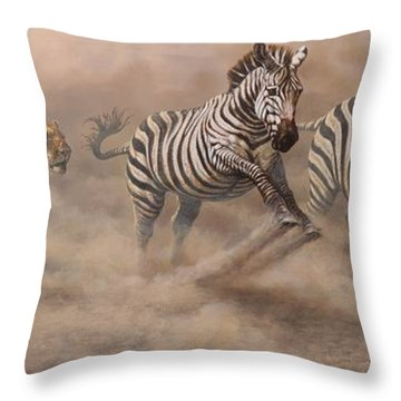 Throw Pillow featuring the painting In Pursuit by Alan M Hunt