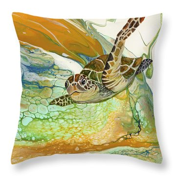 Throw Pillow featuring the painting In Search Of Sea Grass  by Darice Machel McGuire
