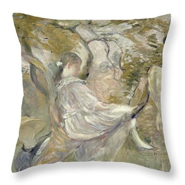 In The Apple Tree Throw Pillow by Berthe Morisot