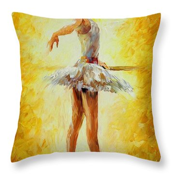 In The Ballet Class Throw Pillow by Leonid Afremov