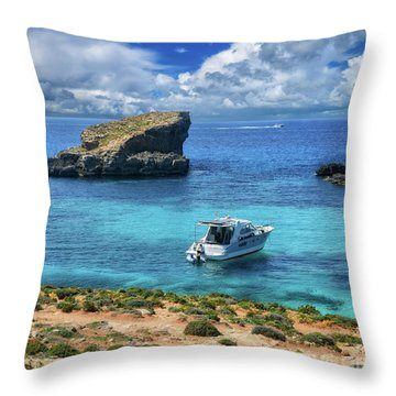 In The Beautiful Island Of Comino Throw Pillow by Stephan Grixti
