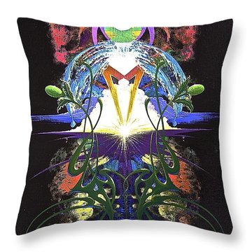 Throw Pillow featuring the painting In The Beginning by Alan Johnson