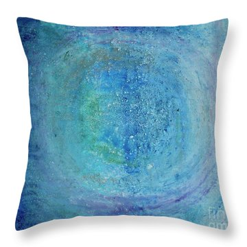 Throw Pillow featuring the painting In The Beginning, Cosmic by Kim Nelson