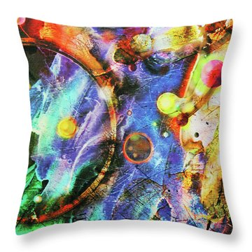 Throw Pillow featuring the painting In The Beginning by John Dyess