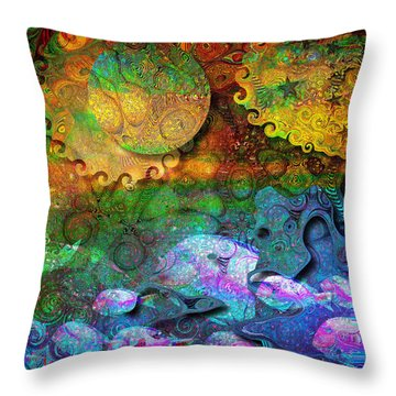 In The Beginning Throw Pillow by Mimulux patricia no No