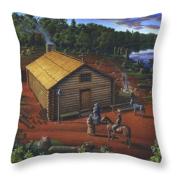 In The Beginning - University Of Notre Dame Chapel - Indian Chapel - Log Cabin Landscape Painting Throw Pillow
