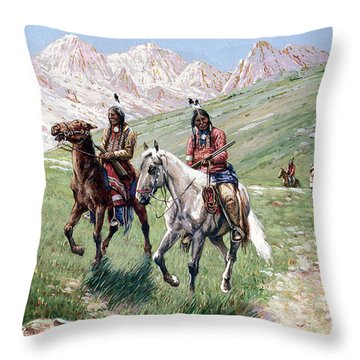 In The Cheyenne Country Throw Pillow by John Hauser