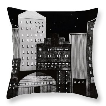 In The City Throw Pillow by Kathy Sheeran