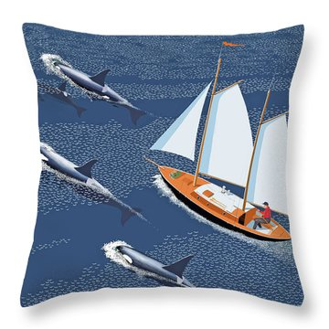 Throw Pillow featuring the digital art In The Company Of Whales by Gary Giacomelli